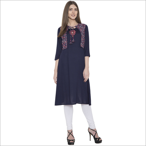Embroidery Rayon With Koti Straight Kurti