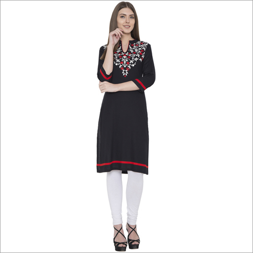 Embroidery Rayon Straight Kurti