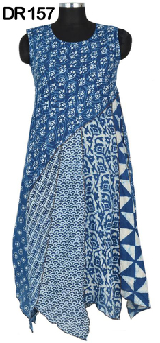 10 Cotton Hand Block Printed Patchwork Dress DR157