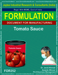 Formulation recipe for making tomato sauce