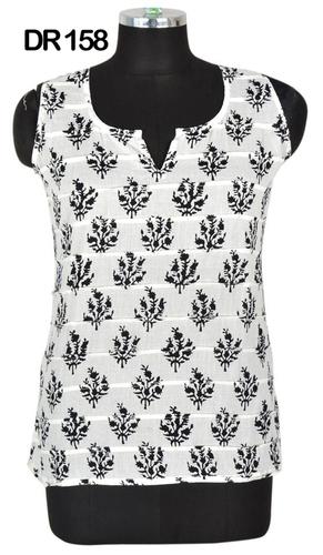 10 Cotton Hand Block Print Sleeveless Womens Top Kurti DR158