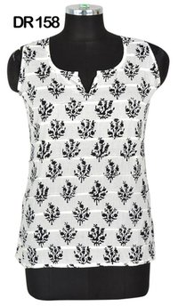 10 Cotton Hand Block Print Sleeveless Womens Top Kurti DR158