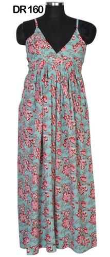 10 Cotton Hand Block Printed Long Womens Maxi Dress DR160