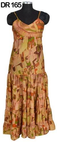 10 Vintage Recycled Silk Sari Long Womens Maxi Dress DR165