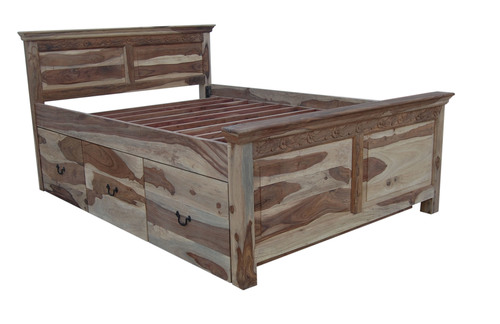 Hardwood Bed With Storage