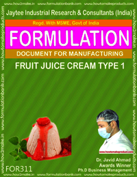 Formula of Fruit juice cream type 1
