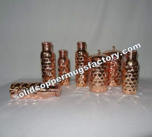 Copper Water Bottle Diamond Hammered