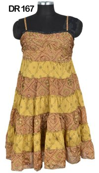 10 Vintage Recycled Silk Sari Short Womens Spaghetti Dress DR167