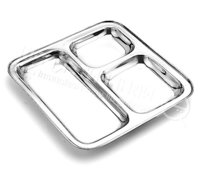 SS Square Compartment Plate
