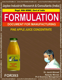 Recipe of pineapple juice concentrate