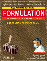 Recipe for preparation of ice cream