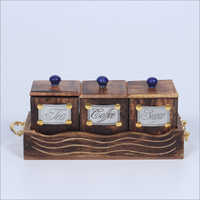 Wooden Tea Coffee Box Set