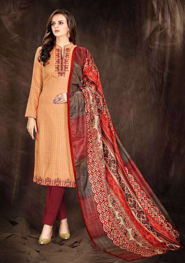 Pure jam satin print with embroidery salwar suit