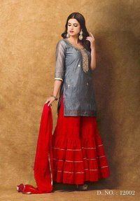Chanderi with gota patti handwork suit