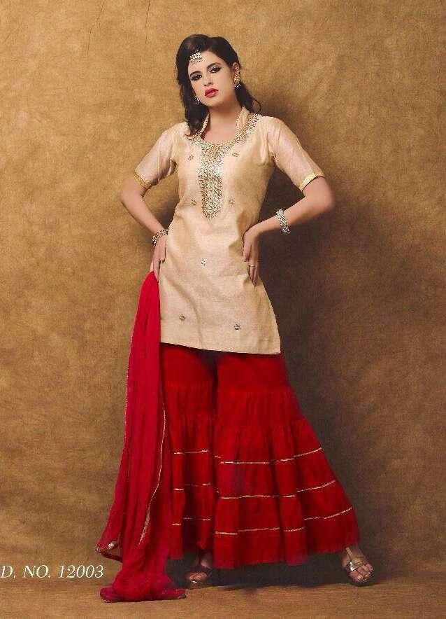 Chanderi with gota patti handwork suit