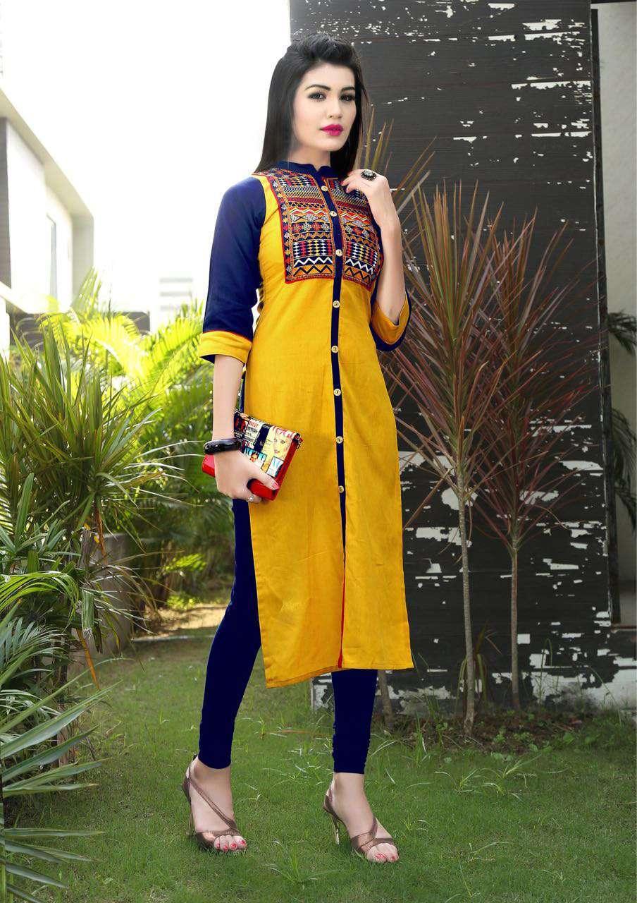Designer linen cotton kurtis