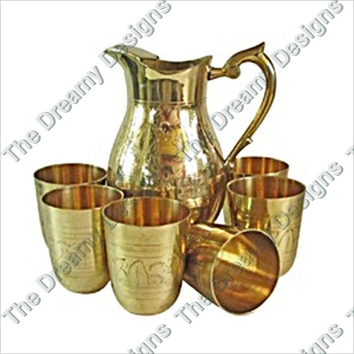 Brass Jug And Glass Set