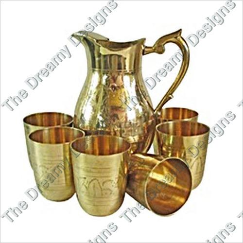 Brass Jug And Glass Set