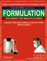 Solvent welding formula for PVC pipes (waste based)