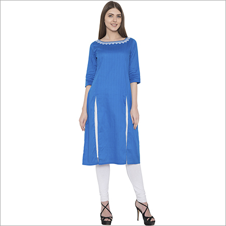 embroidery cotton front open kurti