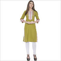 embroidery cotton staright kurti