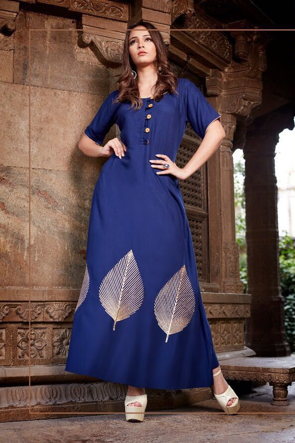 Stylish Embroidered Kurtis on 14 Kg Rayon