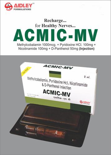 Methylcobalamin 1000mcg + Pyridoxine HCI. 100mg + Nicotinamide 100mg + D-Panthenol 50mg Injection