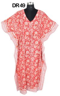 Cotton Hand Block Printed Long Womens Kaftan DR49