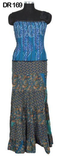 Vintage Recycled Silk Sari Long Womens Dress DR169