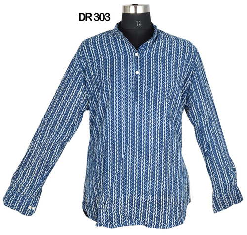 10 Cotton Hand Block Print Mens Kurta DR303