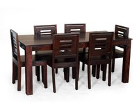Wine Color Dining Table With 6 Chairs