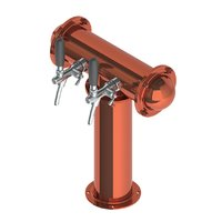 T Type Bridge Tower with 2 Flow Control Taps - Polished Copper - Glycol Recirculation Loop+
