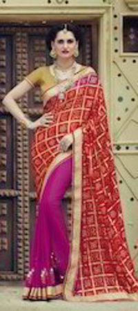 Red &Pink Saree