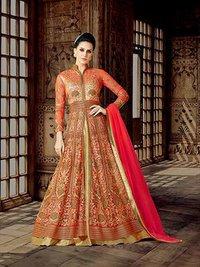 Red Stylish Raw silk Wedding Wear Anarkali suit