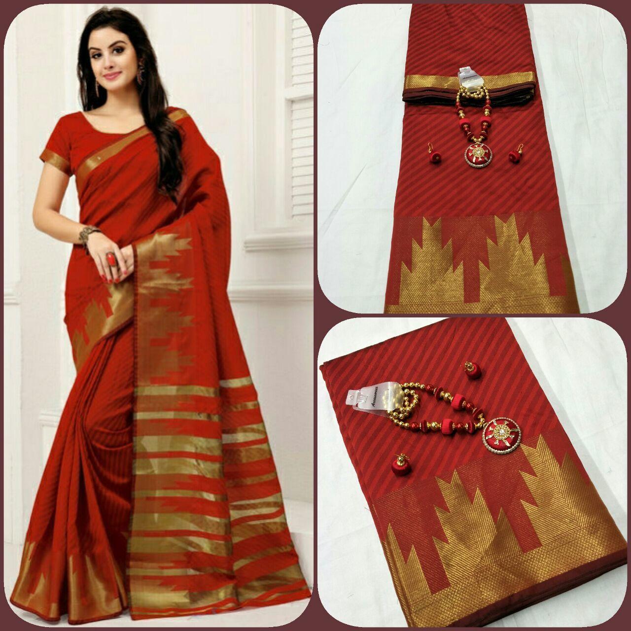 Magenta Exclusive Leechi Jacquard Weaving  Saree