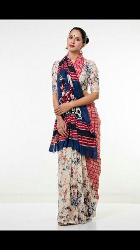 Handblock Batik Print Cotton Saree