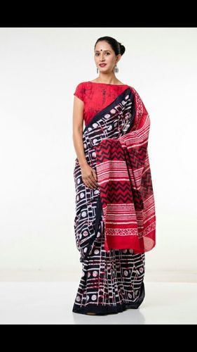 Block Printed Fancy Cotton Saree