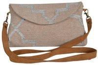 Vintage Single Color Zari Dhurrie Clutch Bag