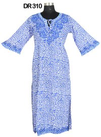 10 Cotton Hand Block Print Embroidered Long Womens Dress DR310