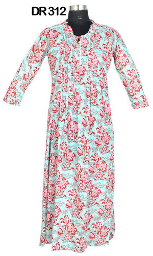 10 Cotton Hand Block Long Womens Dress DR312