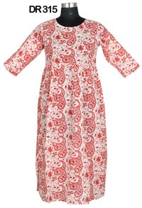 10 Cotton Hand Block Print Long Womens Dress DR315