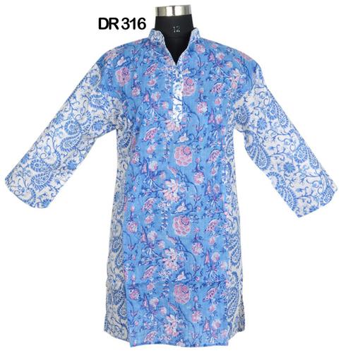10 Cotton Hand Block Print Pintuck Womens Top Kurti DR316