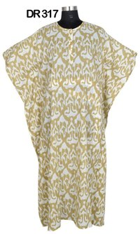 10 Cotton Hand Printed Long Womens Kaftan DR317