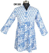 10 Cotton Hand Block Print Pintuck Womens Top Kurti DR320