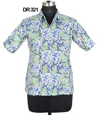 10 Cotton Hand Block Print Half Sleeves Womens Shirt DR321