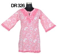 10 Cotton Hand Block Print Embroidered Womens Top Kurti DR326