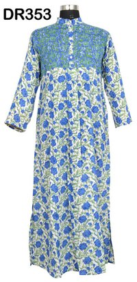 10 Cotton Hand Block Printed Pintuck Womens Long Dress DR353