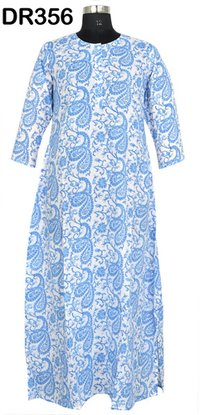 10 Cotton Hand Block Printed Womens Long Dress DR356