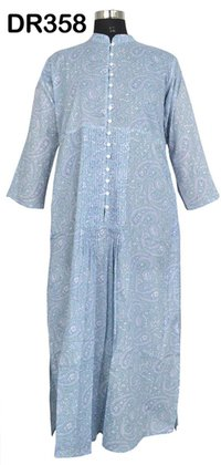 10 Cotton Hand Block Print Long Button Down Womens Dress DR358