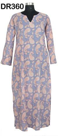 10 Cotton Hand Block Printed Long Womens Dress DR360